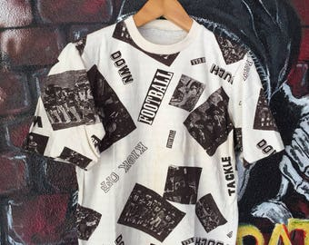 Vintage Football Usa Allover Print Tshirt