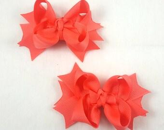 Coral/Mini Hair Bows-Set of 2/Hair Accessory/Little Girl Hair Bow/Toddler Bow/Coral Hair Bow/Mini Hair Bows/Pig Tail/Piggy Tail Bows