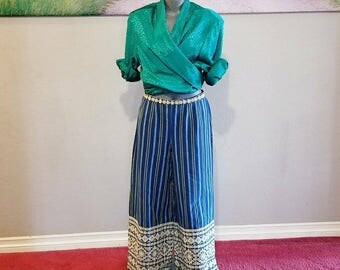 Vintage Wide Leg Pants, Blue Stripes, Handmade In Guatemala, Size Small