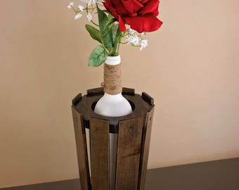 Wooden Vase, Wood Flower Vase, Dried Flower Vase, Decorative Wood Vase, Accent Vase, Wine Bottle Holder, Wooden Vase Stand, Wooden Bud Vase