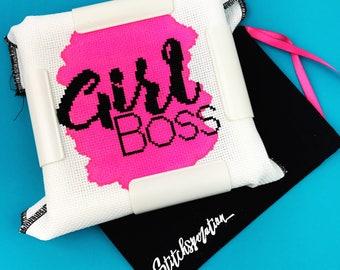 Girl Boss -  Modern Embroidery Kit - Mini Cross Stitch Kit - Hand Painted Fabric - Needlepoint Kit - DIY Kit - Embroidery Kit