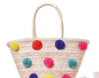 Straw Bag pom pom for women Tote Market Bag Shoulder Handbag