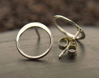 Sterling Silver Open Circle Post Earrings, Gold Earrings, Earrings, Gold, Jewelry, Sterling Silver Earrings, Sterling silver