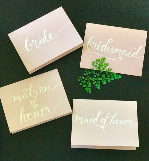 CUSTOM CALLIGRAPHY Bridal Note Cards / Personalized/Message Choices/Great for Bridal Party Invites/Special Messages