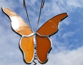 Bright Orange stained glass Butterfly garden stake garden marker plant poke in brushed silver narrow wings handmade art glass decor