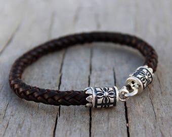 Groomsmen bracelet sterling silver bracelet Personalized leather bracelet.Unique bracelet Gift for him gift for her couple bracelet custom
