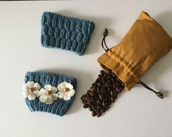 Cup cozy, Knitted cup cozy, Knitted cup sleeve, Gift ideas, Tea assosories, Re-useable cup sleeve, Coffee cup sleeve,