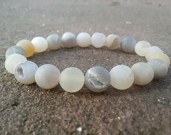 Agate Druzy bracelet Stretch Stone bracelet White Gray Druzy jewelry Power bracelet Agate Men Jewelry Gemstone bracelet for Men Xmas gift
