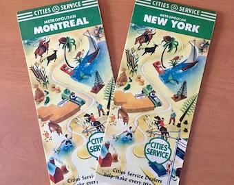Vintage Cities Service Road Maps - Metro New York & Metro Montreal
