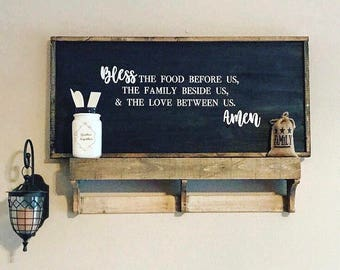 Bless the food before us, family beside us, & love between us - Framed Wooden Sign