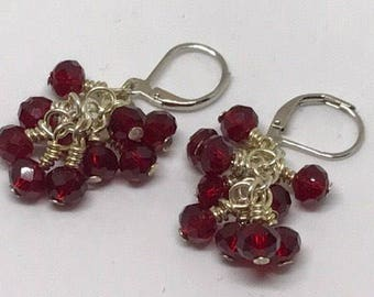 Red Bead Cluster Earrings