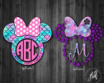 Mermaid Minnie Mouse Monogram| Minnie Mouse Ear Monogram| Minnie Mouse Decal| Mermaid Monogram| Minnie Mouse Car Decal
