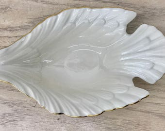 Lenox white leaf shaped bowl with Gold Trim