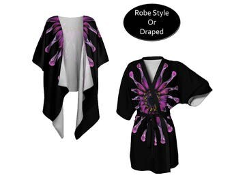 Purple Floral Kimono, Draped or Belted Robe, Lightweight Chiffon or Jersey, Short or Long, Boho Festival Fashion, Beach Swim Coverup, Black