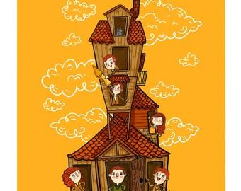 Weasley Family Burrow Harry Potter Fan Art Illustration