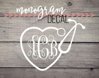 Heart Stethoscope Monogram Decal //vinyl decal, vinyl monogram, nurse monogram, doctor monogram, CNA monogram, monogram sticker