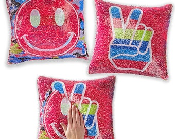Peace to Smiley Face Sequins Flip Pillow