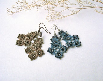 Lightweight earrings Blue Chandelier earrings Brown bronze fancy earrings Tatting jewelry Elegant earrings Bohemian Tatted lace earrings