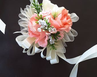 Pink corsage,  pink wedding,  pink prom,  pink roses corsage