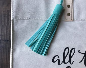 TEAL Leather tassel- bag accessories- key chain- luggage tag- bag bling