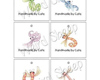 3 Inch Square Tags Double Sided - Dragonflies - PDF FILE ONLY