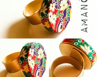 Handmade ring in Japanese paper
