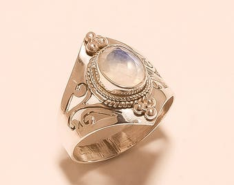 Natural Moonstone Ring Sterling Silver Ring 925 Solid Sterling Silver Ring Flashing Rainbow Ring White Rainbow Moonstone Ring Size8.5 E-1027