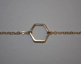 Bracelet 14 k gold Hexagon