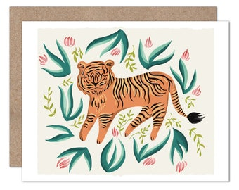 Tiger in the Jungle Card   Tiger   Blank Card   Plants   Tropical Plants