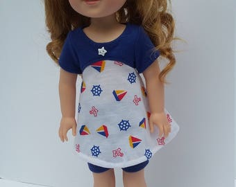 """14.5"""" doll clothing - Tri-city tunic in Navy and white"""