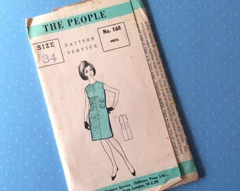 """Vintage Sewing Pattern - The People 168  - Retro 1960's Dressmaking Pattern - Dress Sewing Pattern - Bust 34"""" Sewing"""