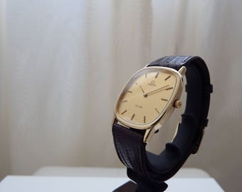 Omega DeVille Square Gold Plated Stainless Steel Gold Dial Quartz Cal. 1434 mens Watch
