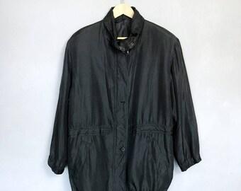 VINTAGE • SILK • M / L • silk coat • silk jacket • black • summer jacket• light jacket