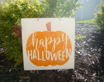 Happy Halloween Pumpkin Sign, Rustic Halloween Sign, Halloween Decor, Wood Halloween Sign, Farmhouse Halloween Sign, Pumpkin Halloween Sign