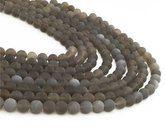 1Full Strand Matte Gray Agate Round Beads, 6mm  8mm 10mm Wholesale Agate Gemstone For Jewelry Making