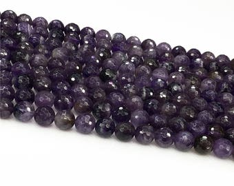 1Full Strand Amethyst Faceted Beads,6mm 8mm Amethyst Gemstone For Jewelry Making