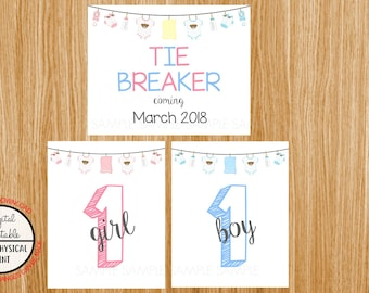 Tie Breaker Pregnancy Announcement Sign, Pregnancy Reveal, Printable, Pink or Blue, Instant Download, Boy and Girl Sign, due March 2018