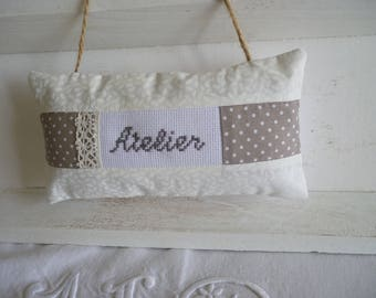 Door panel embroidered fabric workshop - door with cross stitch fabric cushion-