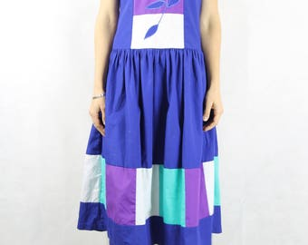 VINTAGE Cotton Colour Block Drop Wiast 80s Dress Size S