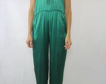 VINTAGE 70s Green Satin Jumpsuit Size XS 6 8