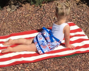 Girls patriotic dress, Beach Baby dress, Girls 4th of July dress, Red white and blue dress, Girls US flag dress, Toddler 4th of July dress