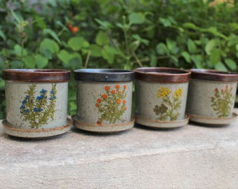 Herb Garden Planter Pots with Matching Saucers ~ Vintage Set of Four Featuring Botanical Floral Designed Pottery ~  Takahashi/San Francisco