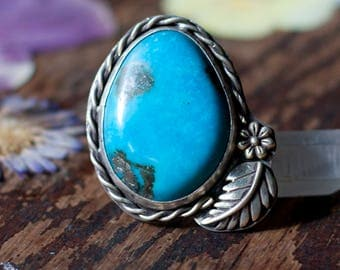 Turquoise Ring, Statement Ring, US Ring Size 10 - sterling silver, bohemian, nature, gypsy, free spirit, bohemian jewelry
