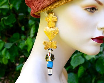 CHRISTIAN LACROIX 1980 Haute Couture Toreador Chandelier Earrings