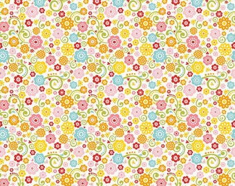 By the HALF YARD - Happy Day by Lori Whitlock for Riley Blake, #C5911-Multi Floral, Red, Yellow, Blue, Pink, Green, Orange Flowers on White