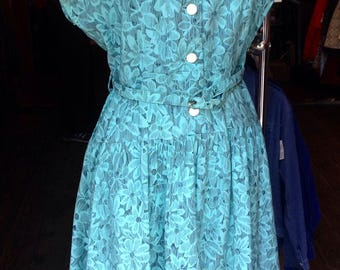 1940s 'St Micheal' Jade Floral Rayon Dress