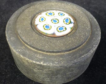 Cylindrical stone paperweight with inlaid Italian blue and white millefiori