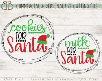 Cookies for Santa SVG, Milk for Santa SVG, Christmas svg, santa cookie plate, svg, eps, dxf, png cut file, Silhouette, Cricut