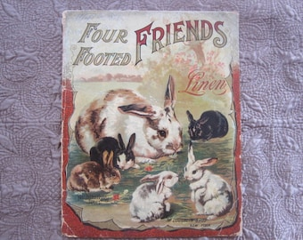 Antique Book Four Footed Friends Linen McLoughlin Bros Book 1880's