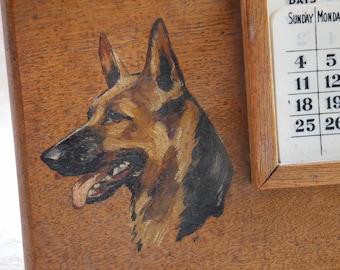 Perpetual Calendar, German Shepherd Dog, Dog Painting, Dog Lover Gifts, Vintage Wood Decor, Desk Calendar, Wood Calendar, Easel Stand